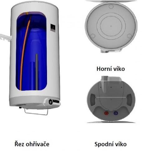 řez ohřívačem vody