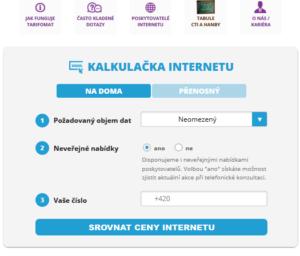 kalkulačka internetu