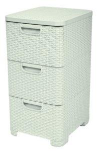 Curver skříňka se 3 zásuvkami Rattan Style krémová